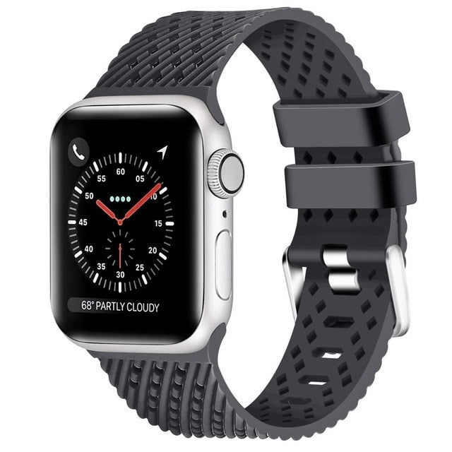 Gray - Rhombus Texture Silicone Sport Strap for Apple Watch Series, 5, 4, 3, 2, 1