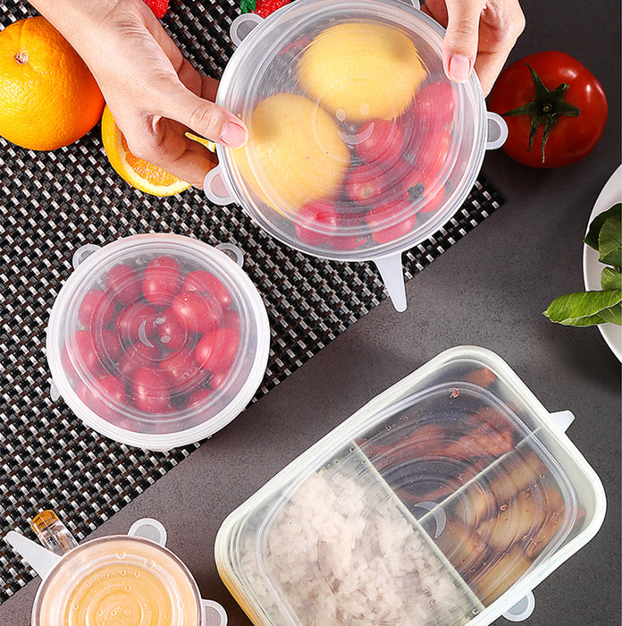 6 Pcs/ Set Eco-friendly Stretchy Silicone Food Storage Container Lids - cloverbliss.com