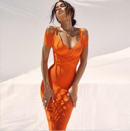Sexy Cold-Shoulder Tangerine Bandage Dress - cloverbliss.com
