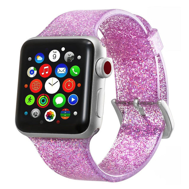 Transparent Glitter Silicone for Apple Watch Band 38mm, 40mm, 42mm, 44 mm