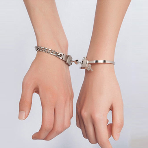 Concentric Lock Key Couple Bracelet