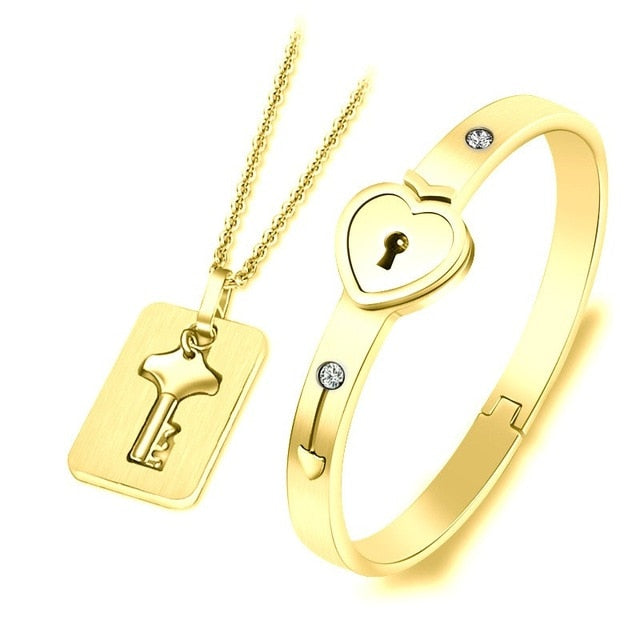 Beautiful Golden Concentric Lock Key Couple Bracelet and Necklace Set On Sale