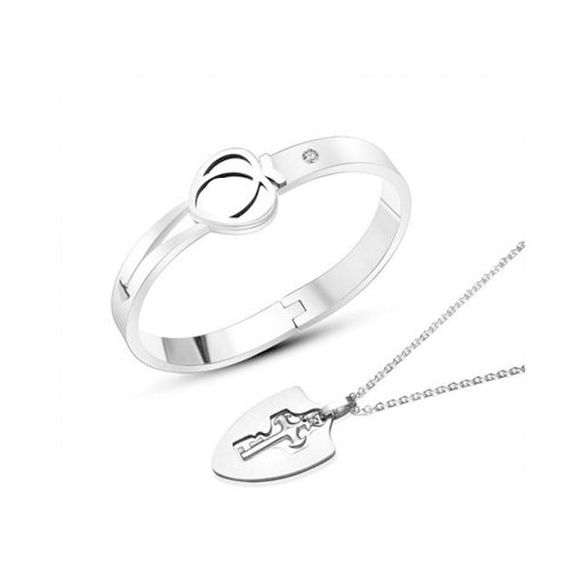 Concentric Lock Key Couple Bracelet and Necklace Sets