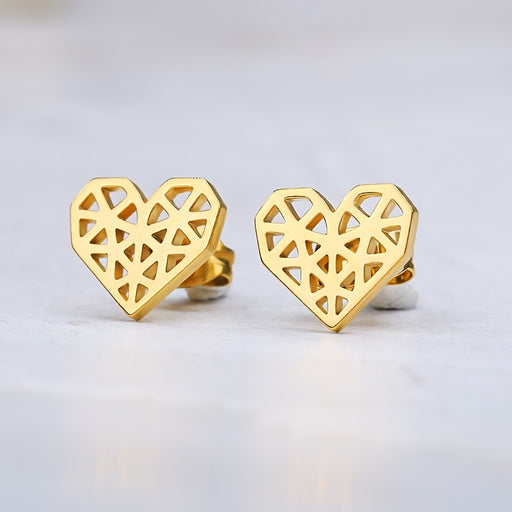 Origami Heart Earrings - cloverbliss.com