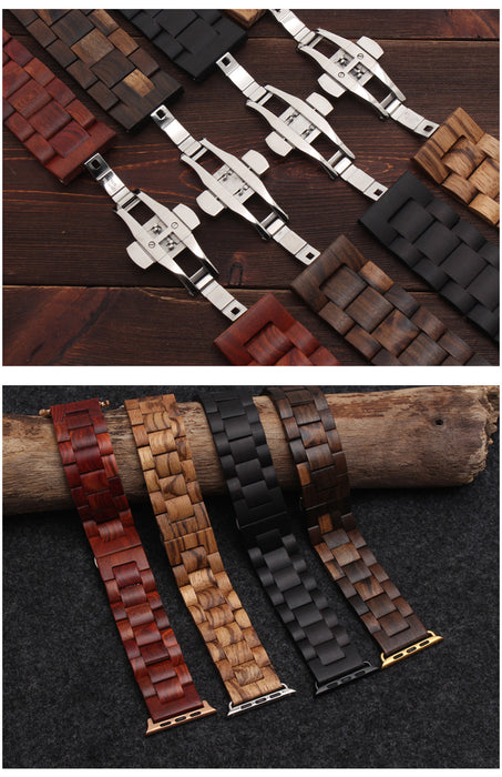 Wooden Strap for Apple Watch Band 38mm, 40mm, 42mm, 44 mm