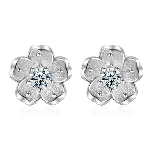 925 Sterling Silver Sakura Earrings - cloverbliss.com