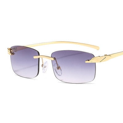 Classic Rectangle Rimless Sunglasses - cloverbliss.com