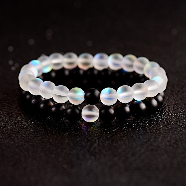 Natural Crystal Stone Charm Couple Bracelets - cloverbliss.com
