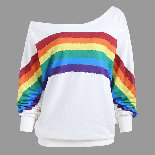 Rainbow Print Long-Sleeve Sweatshirt - cloverbliss.com