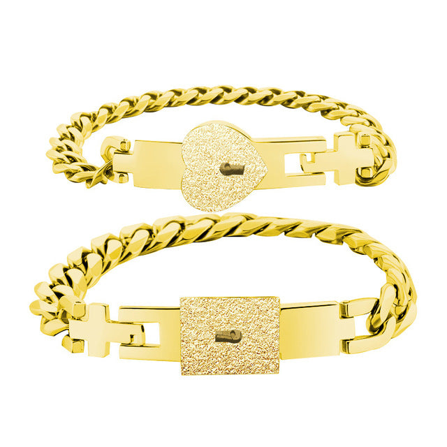 1 Pair Heart and Square Concentric Lock Key Titanium Steel Couple Chain Bracelet On Sale (Gold)