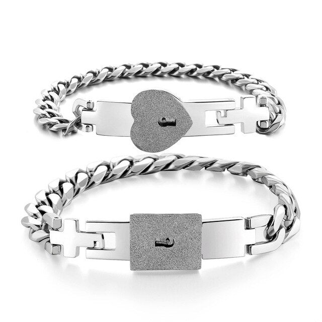 1 Pair Heart and Square Concentric Lock Key Titanium Steel Couple Chain Bracelet On Sale (Silver)