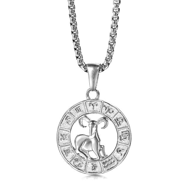 12 Horoscope Aries Zodiac Pendant Necklace On Sale