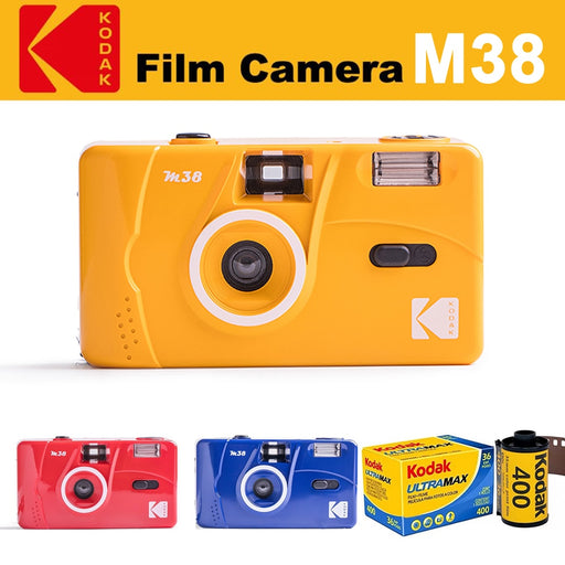 KODAK Vintage Retro M38 Reusable Film Camera + Kodak UltraMax Film  ( 1 Roll - 3 Roll ) Bundle