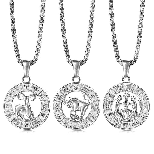 12 Horoscope Zodiac Pendant Necklace On Sale at Cloverbliss.com
