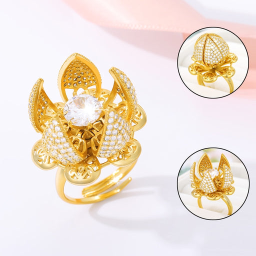 Gold Plated Flower Blossom Charm Ring On Sale