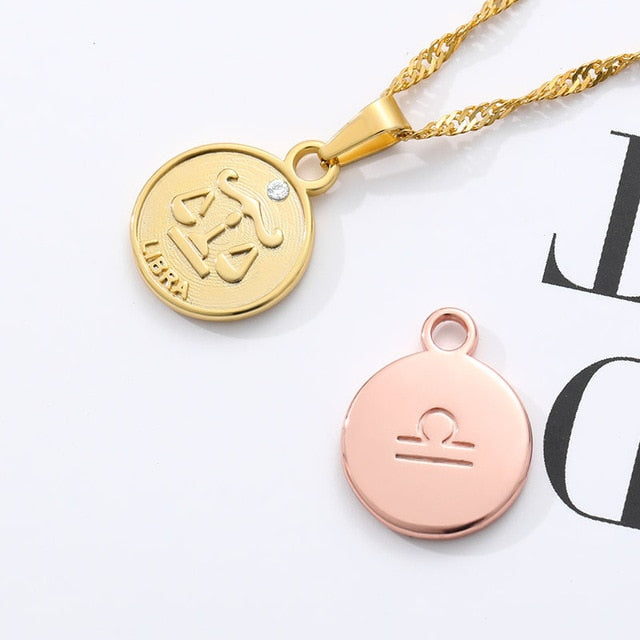Zodiac Medallion Pendant Necklace - cloverbliss.com