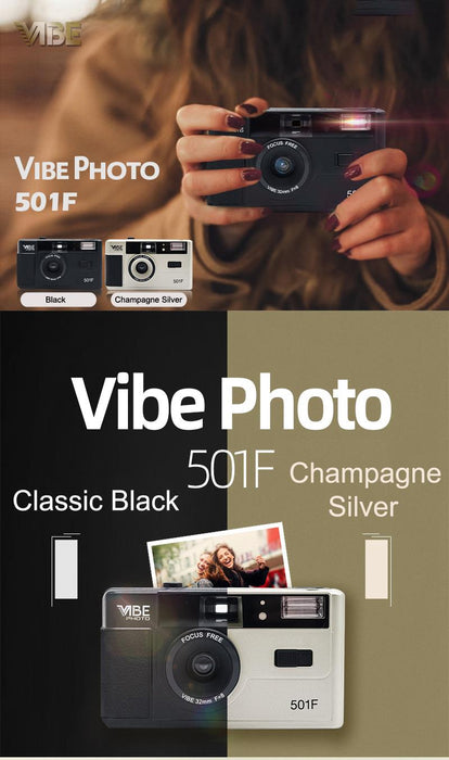 Vibe Photo 501F Vintage 35mm Reusable Film Camera with Kodak UltraMax 400 Film