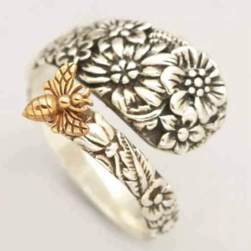 Flowers and Golden Bee Ring - cloverbliss.com
