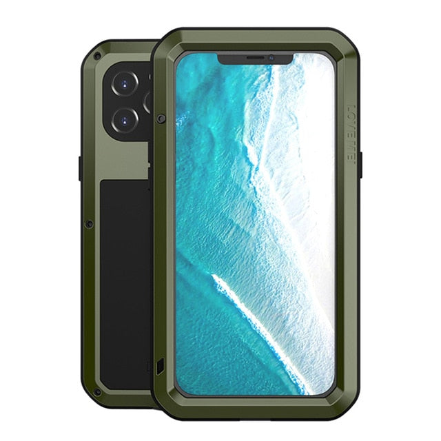 Military Green Aluminum Metal Glass Case for iPhone 12 Pro Max