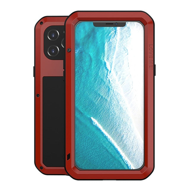 Red Aluminum Metal Glass Case for iPhone 12 Pro Max
