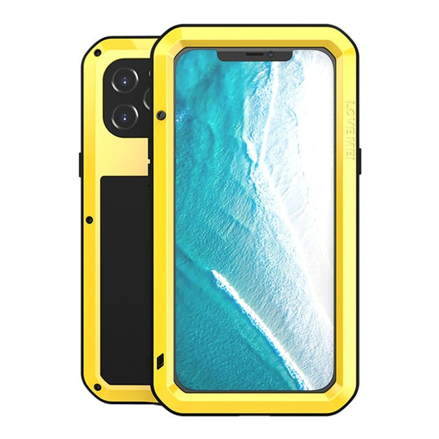 Yellow Aluminum Metal Glass Case for iPhone 12 Pro Max