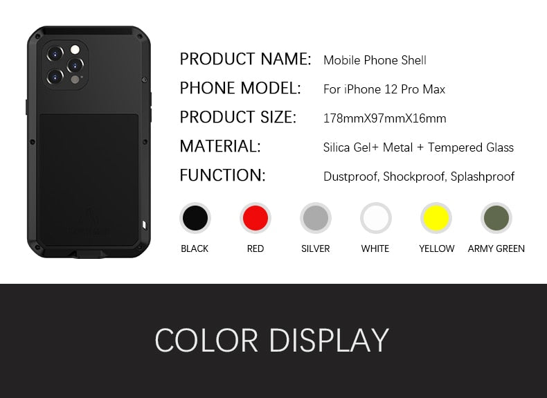 Aluminum Metal Glass Case for iPhone 12 Pro Max