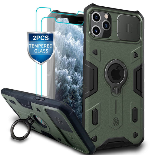 iPhone Ring Stand Armor Case With Camera Protection Slide Cover