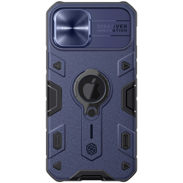 Navy Blue iPhone Ring Stand Armor Case With Camera Protection Slide Cover
