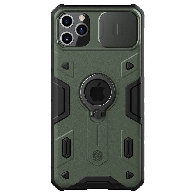 Military Green iPhone Ring Stand Armor Case With Camera Protection Slide Cover