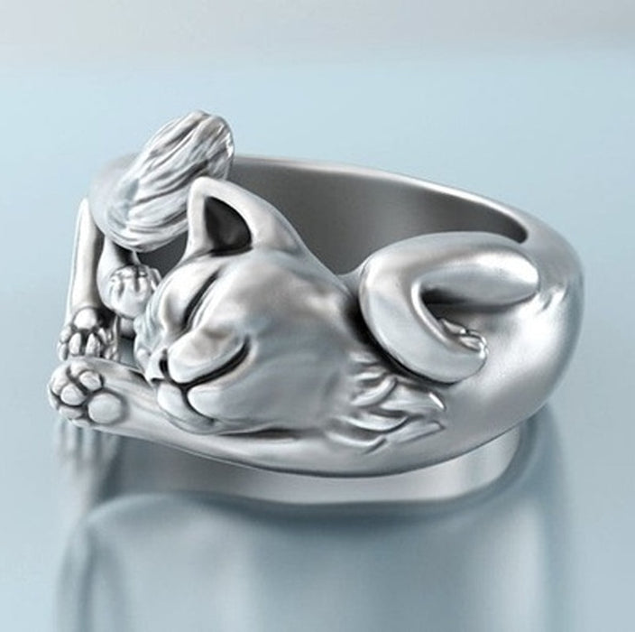 Cute Stretching Cat Ring