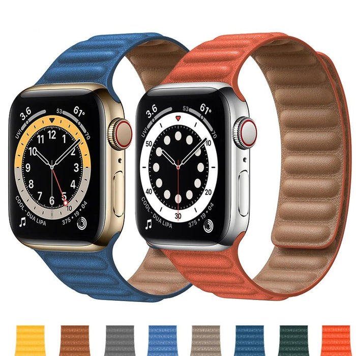SALE Leather Link Magnetic Loop Apple Watch Band 38mm/40mm 42mm/44mm