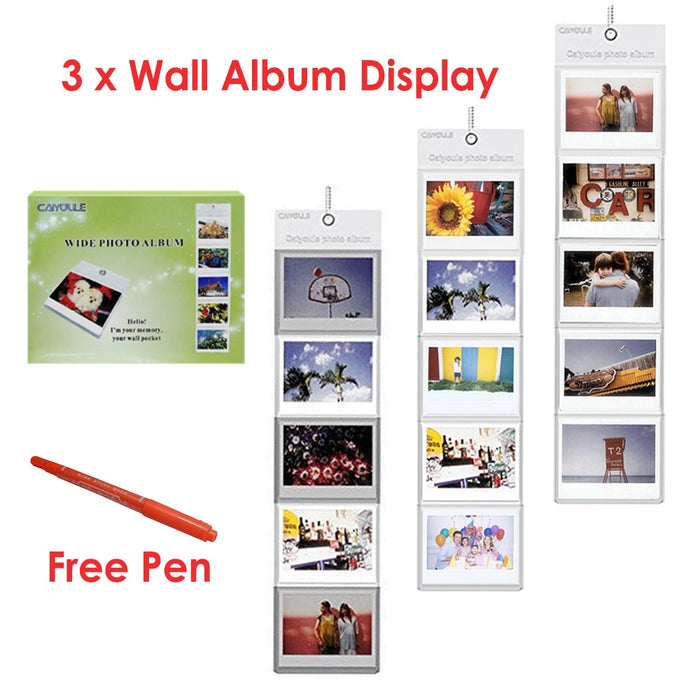 3 x  Fujifilm Instax 5 Pockets Hang Wall Album + FREE Marker Pen