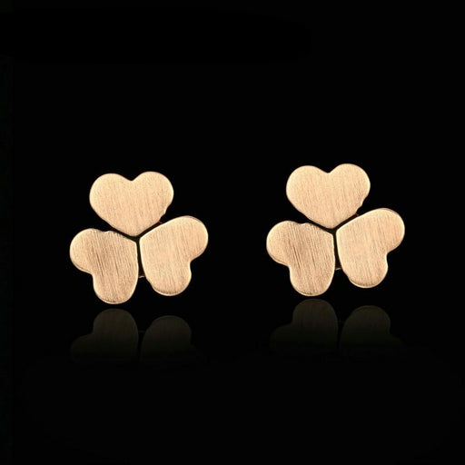 Lovely Heart-shaped Clover Rose Gold Stud Earrings - cloverbliss-co