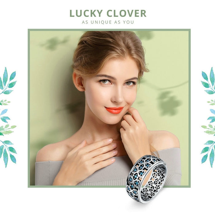Genuine 925 Sterling Silver Lucky Clover Blue CZ Ring Sized 6/7/8 - cloverbliss-co