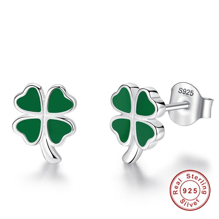 925 Sterling Silver Green Enamel Lucky Cloverleaf Earrings - cloverbliss-co