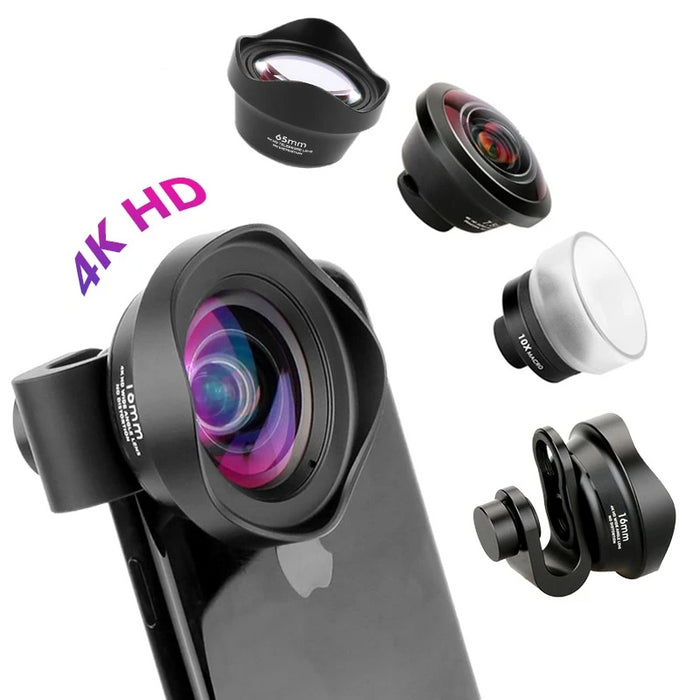 4K HD Wide Angle, Macro, Fisheye, Mobile Phone Camera Lens
