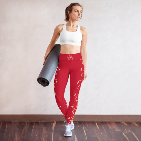 Red Full Length Leggings with a Gorgeous Gold Print