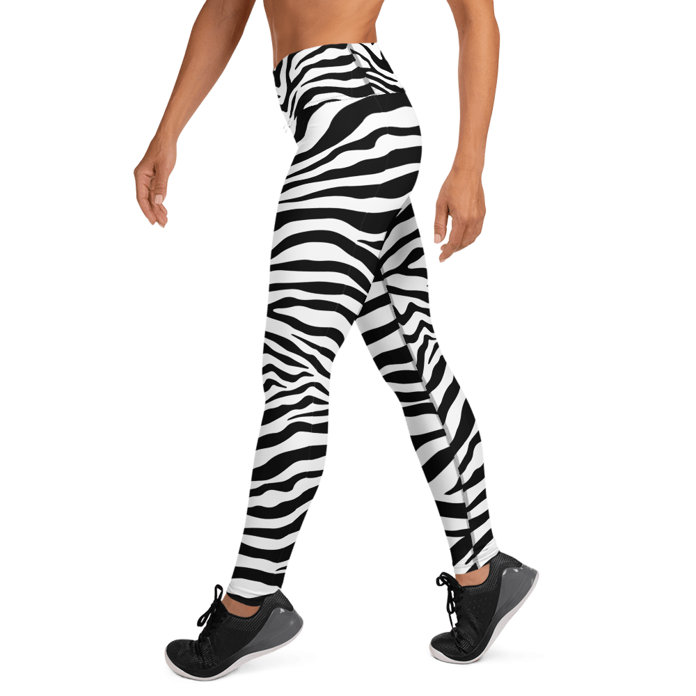 Revive Wear Womens Activewear Black and White Print Yoga Leggings
