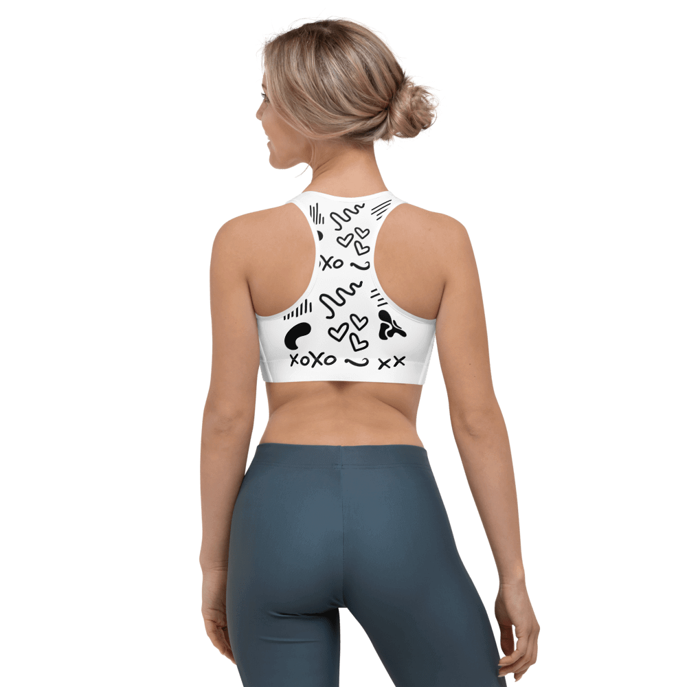 Revive Wear Womens Activewear Black and White Shaping Sports Bra