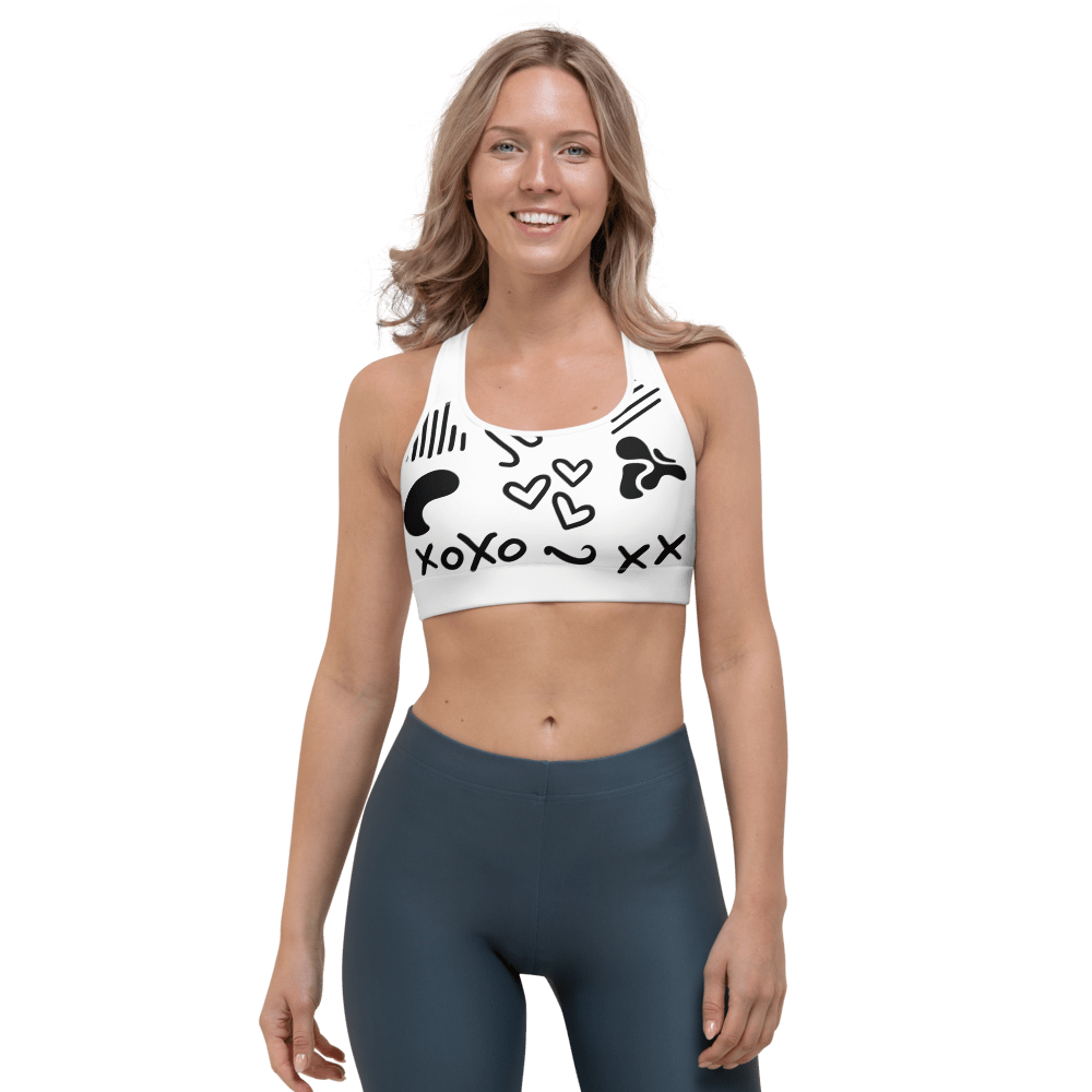 Revive Wear Womens Activewear Black and White Shaping Sports Bra XS