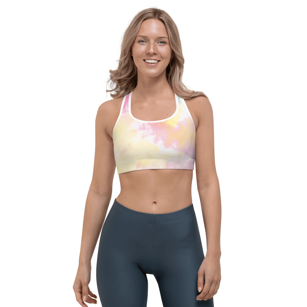 Revive Wear Womens Activewear Dreamy Pastel Tie-Dye Full-Coverage Supportive Women's Sports Bra XS