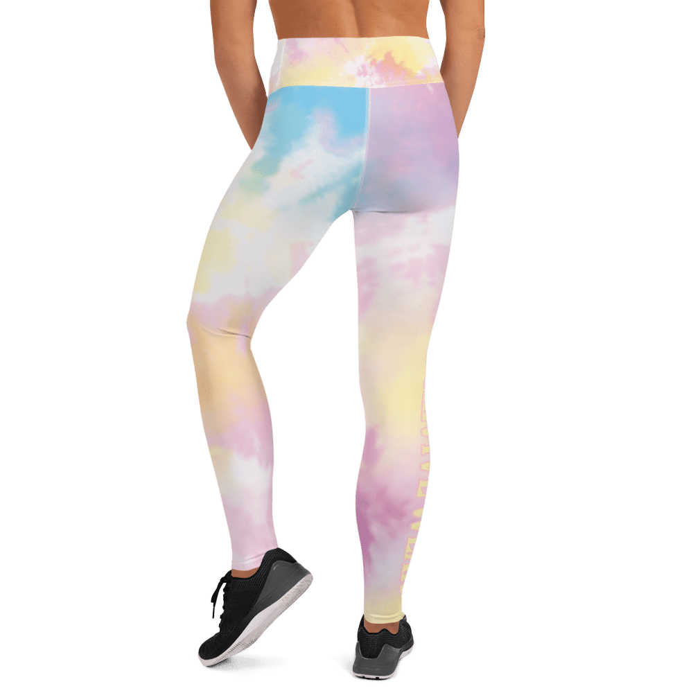 Revive Wear Womens Activewear Pastel Rainbow Tie-Dye High Waisted Yoga Leggings for Athletic Women