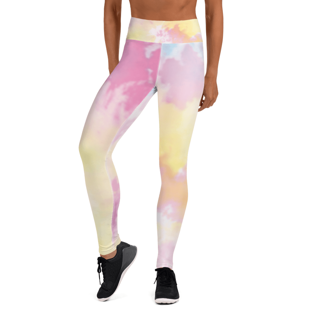 Revive Wear Womens Activewear Pastel Rainbow Tie-Dye High Waisted Yoga Leggings for Athletic Women XS