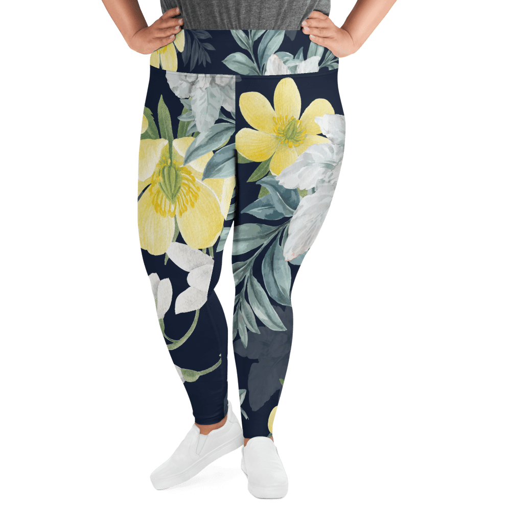 Revive Wear Womens Activewear Plus Size Floral Flattering Fit Leggings 2XL