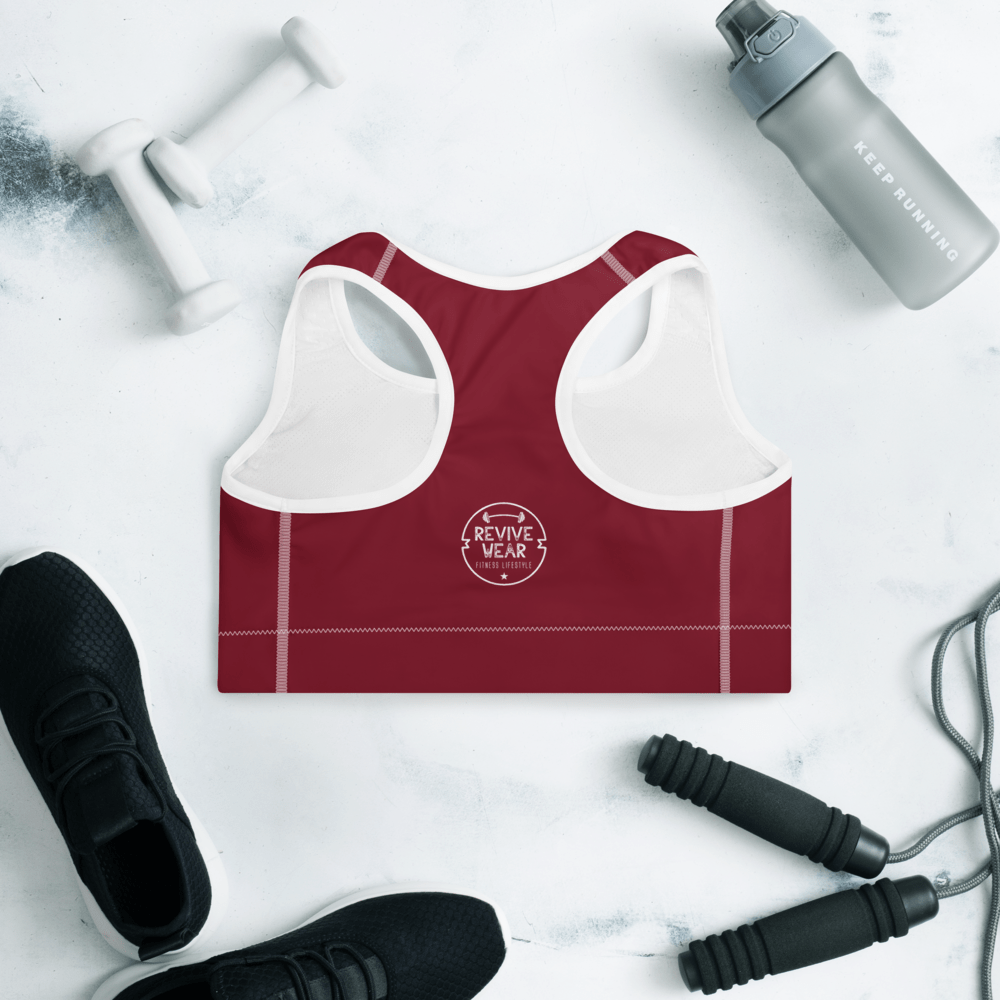 Revive Wear Womens Activewear Red and White Floral Blossom Padded and Supportive Sports Bra