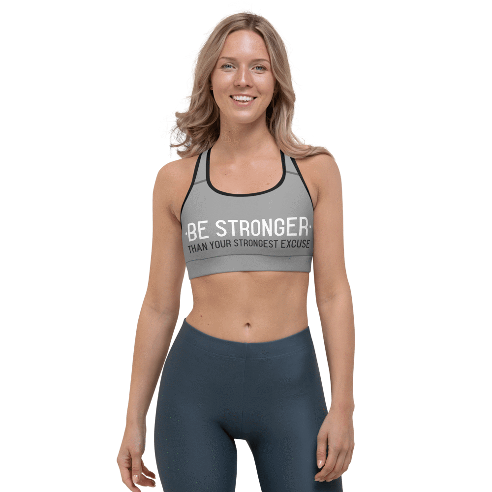Revive Wear Womens Activewear Supportive and Comfortable Be Stronger Gray Sports Bra for Low- and Medium-Intensity Workouts Black / XS
