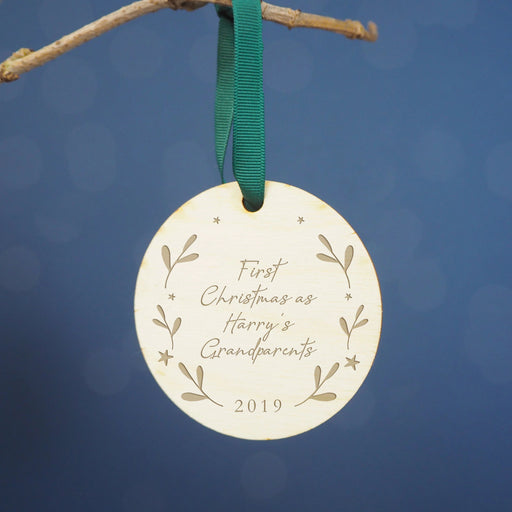 First Christmas as Grandparents Engraved Wooden Christmas Tree Decoration