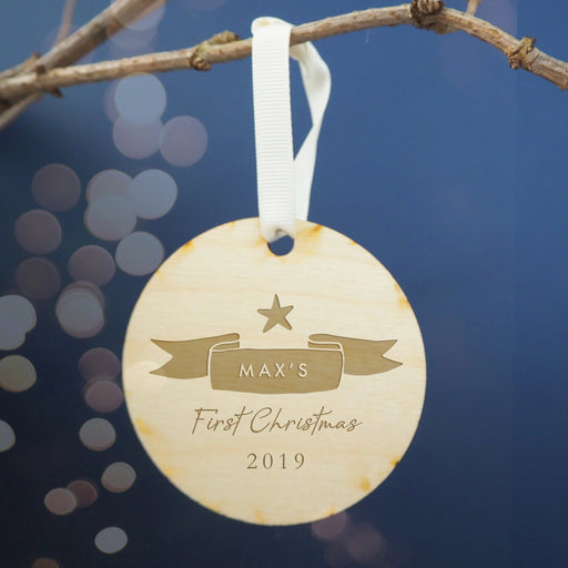Baby's First Christmas Ribbon Design Engraved Wooden Christmas Tree Decoration