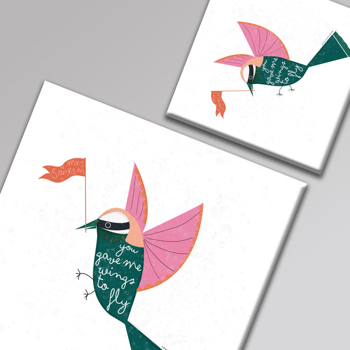 You Gave Me Wings to Fly Personalised Thank You Teacher Square Canvas
