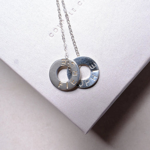 Personalised Message Sterling Silver Hoop Necklace